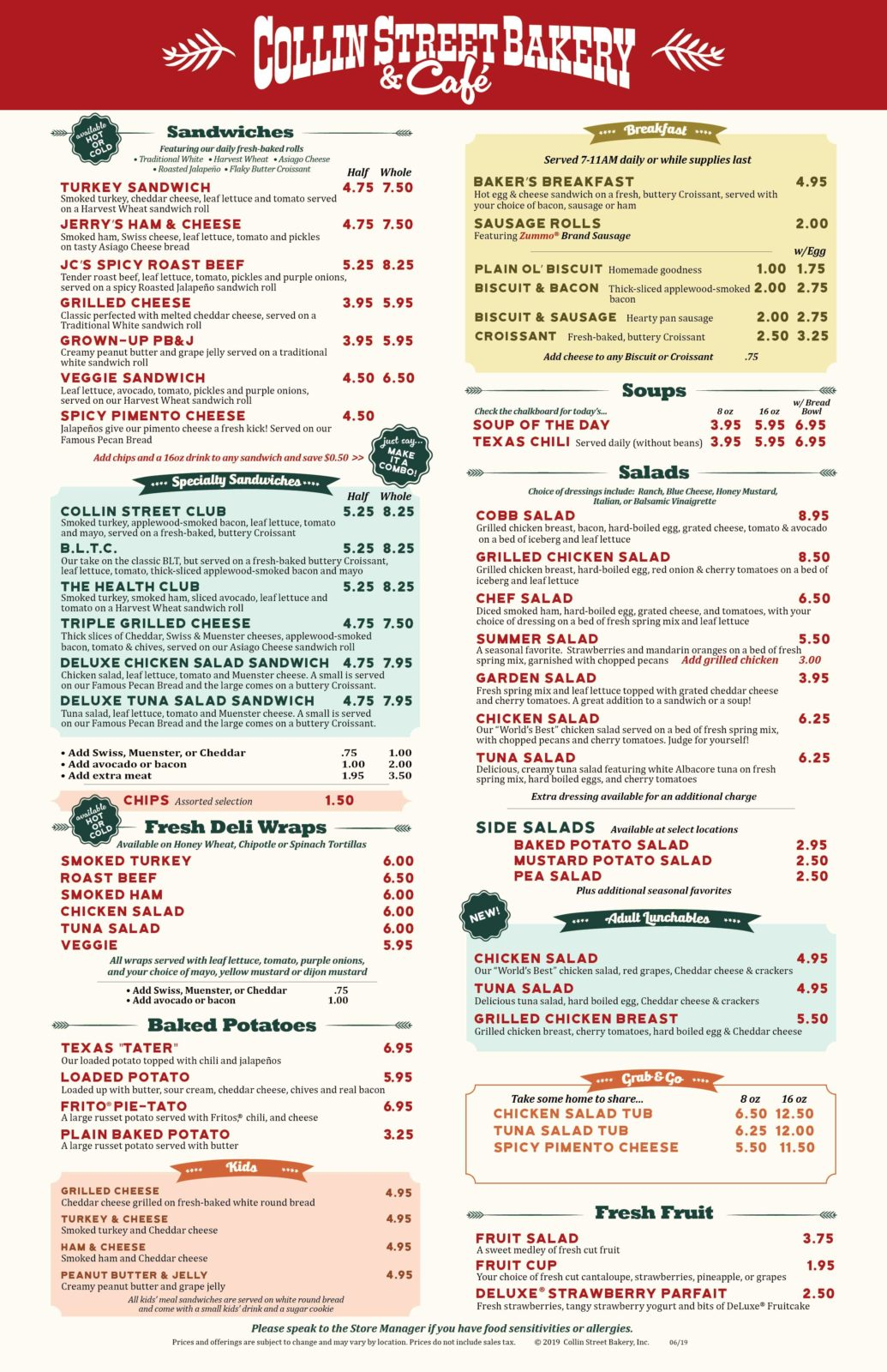 Collin Street Bakery Cafe Menu Page 1 Updated 061419